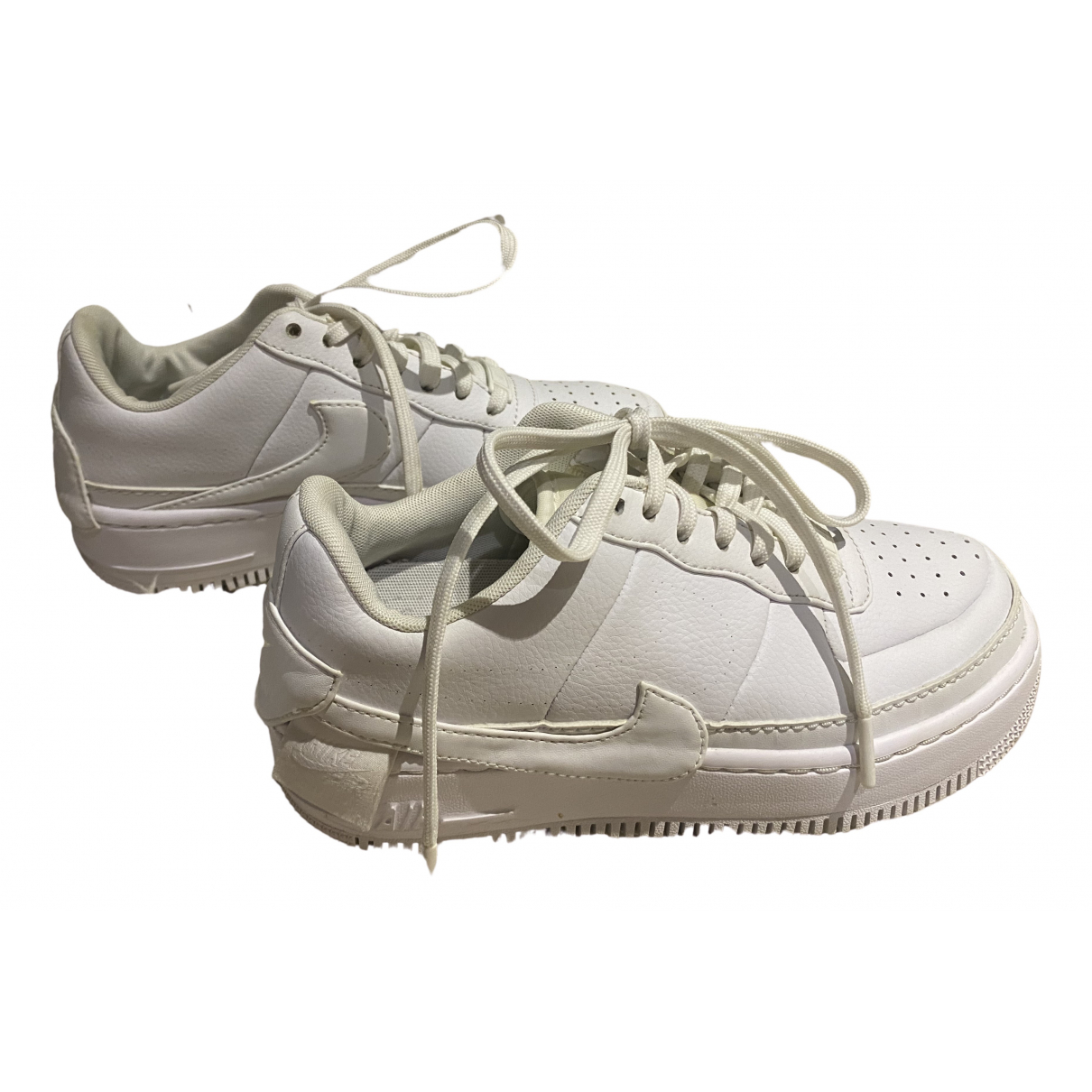 Nike Air Force 1 White Leather Trainers for Women 38 EU