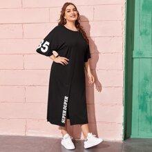 Plus Drop Shoulder Split Hem Letter Graphic Dress