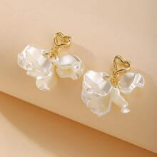 Hollow Out Heart Tassel Drop Earrings