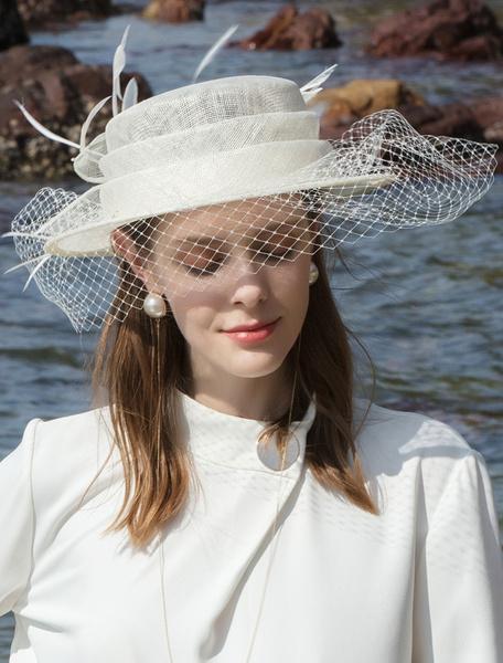 Milanoo Women Vintage Hat Blue Tulle Feathers Hat Retro Costume Accessory Halloween