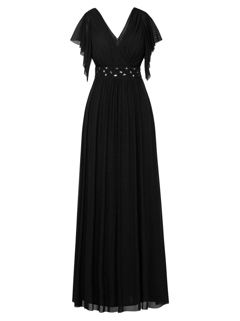 Ericdress V Neck Cap Sleeves Beaded Long Evening Dress