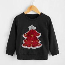 Sweatshirt mit Kontrast Pailletten und Tannenbaum Muster