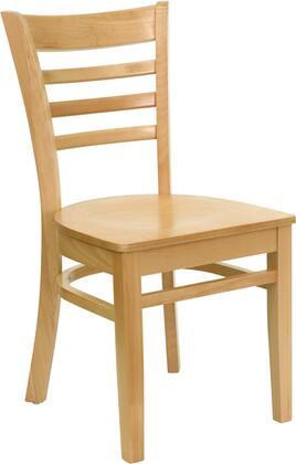 Hercules Collection XU-DGW0005LAD-NAT-GG Restaurant Dining Chair with Ladder Back Design  Floor Protector Glides  Curved Support Bar and Solid