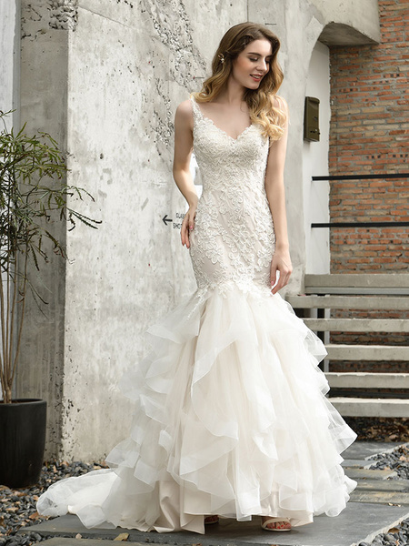 Milanoo Wedding Dresses V Neck Sleeveless Natural Waist Lace Mermaid Bridal Gowns With Train