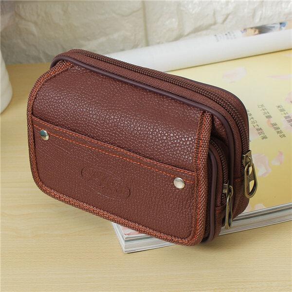 Men Leather 5.5 Inch Phone Holder Belt Bag Waist Bag