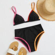 Contrast Binding High Waist Bikini Swimsuit