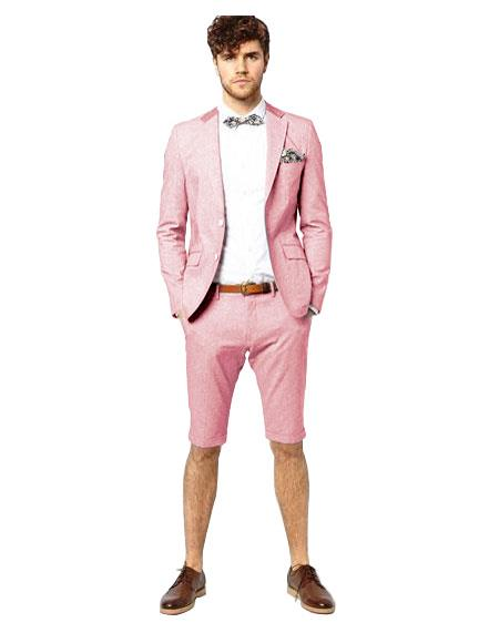 Suit Single Breasted Pink Notch Lapel