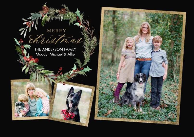 Christmas Photo Cards Flat Glossy Photo Paper Cards with Envelopes, 5x7, Card & Stationery -Christmas Greenery Wreath by Tumbalina