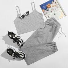 Solid Crop Cami & Tie Front Sweatpants