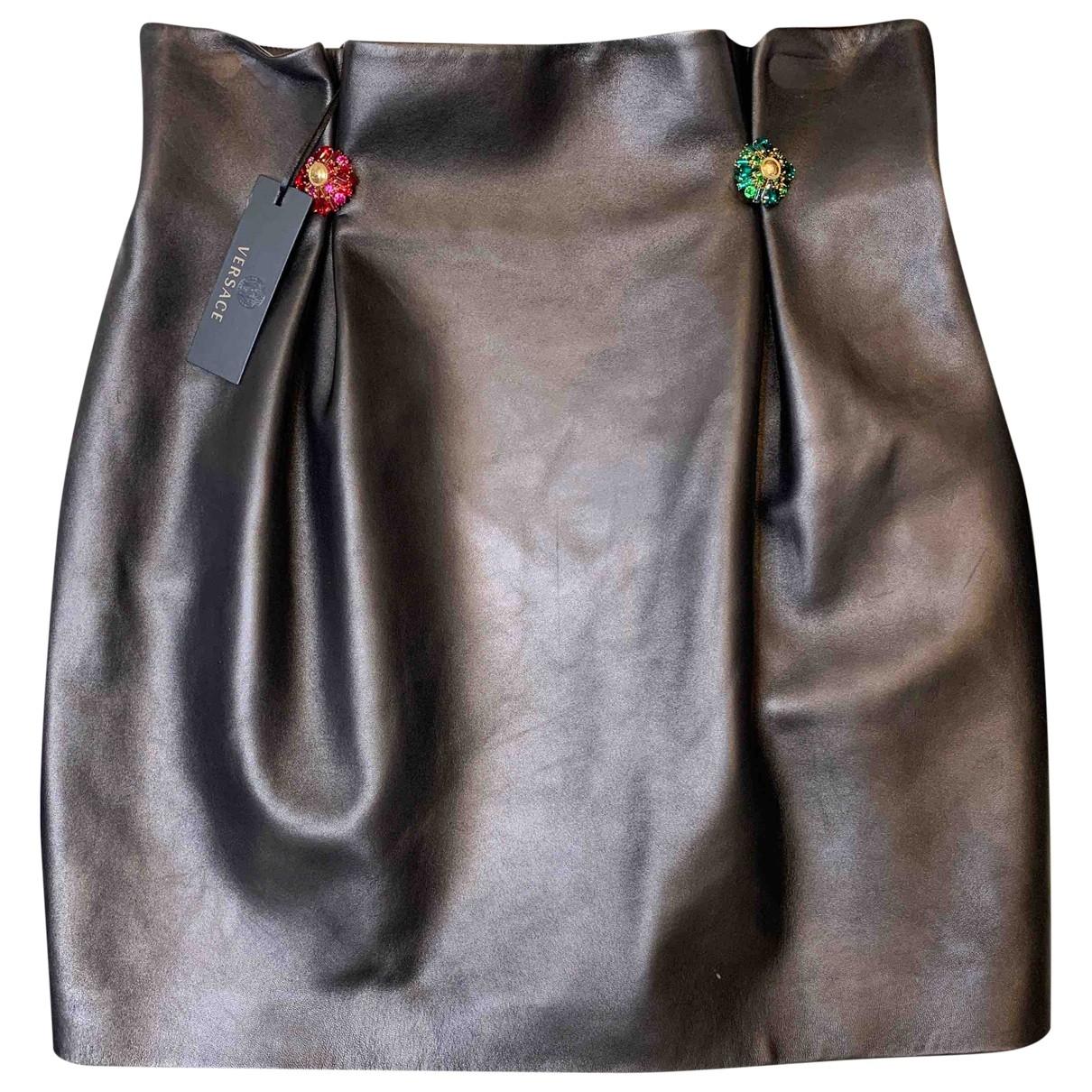Versace - Jupe   pour femme en cuir - noir
