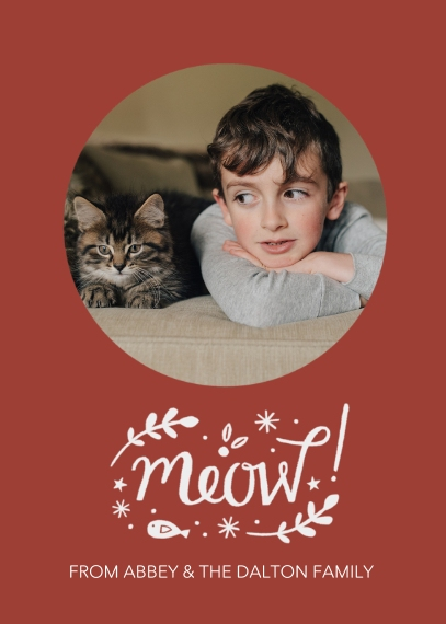 Pets 5x7 Folded Cards, Premium Cardstock 120lb, Card & Stationery -Merry Meow