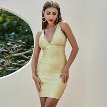 Gold Reissverschluss  Einfarbig Sexy Kleider