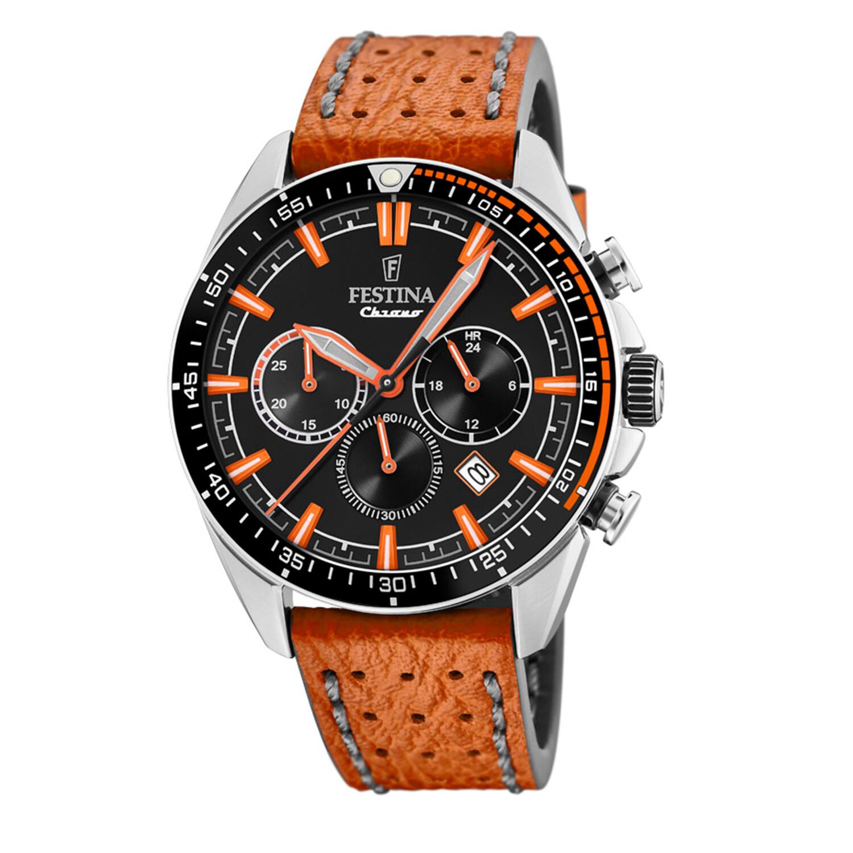 Festina Men's The Originals F20377-4F37 Black Leather Quartz Fashion Watch