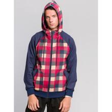 Men Zip Up Contrast Plaid Hooded Sweatshirt