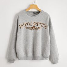 Drop Shoulder Embroidered Letter Pullover