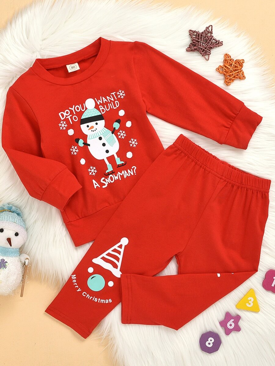 LW Lovely Sweet O Neck Print Red Girl Two-piece Pants Se