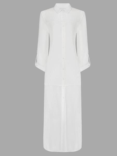 Yoins White Irregular Chiffon Shirts With Long Sleeve