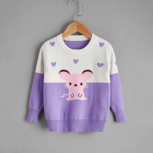 Toddler Girls Color Block And Cartoon Pattern Sweater