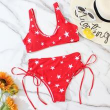 Star Print Tie Side Bikini Swimsuit
