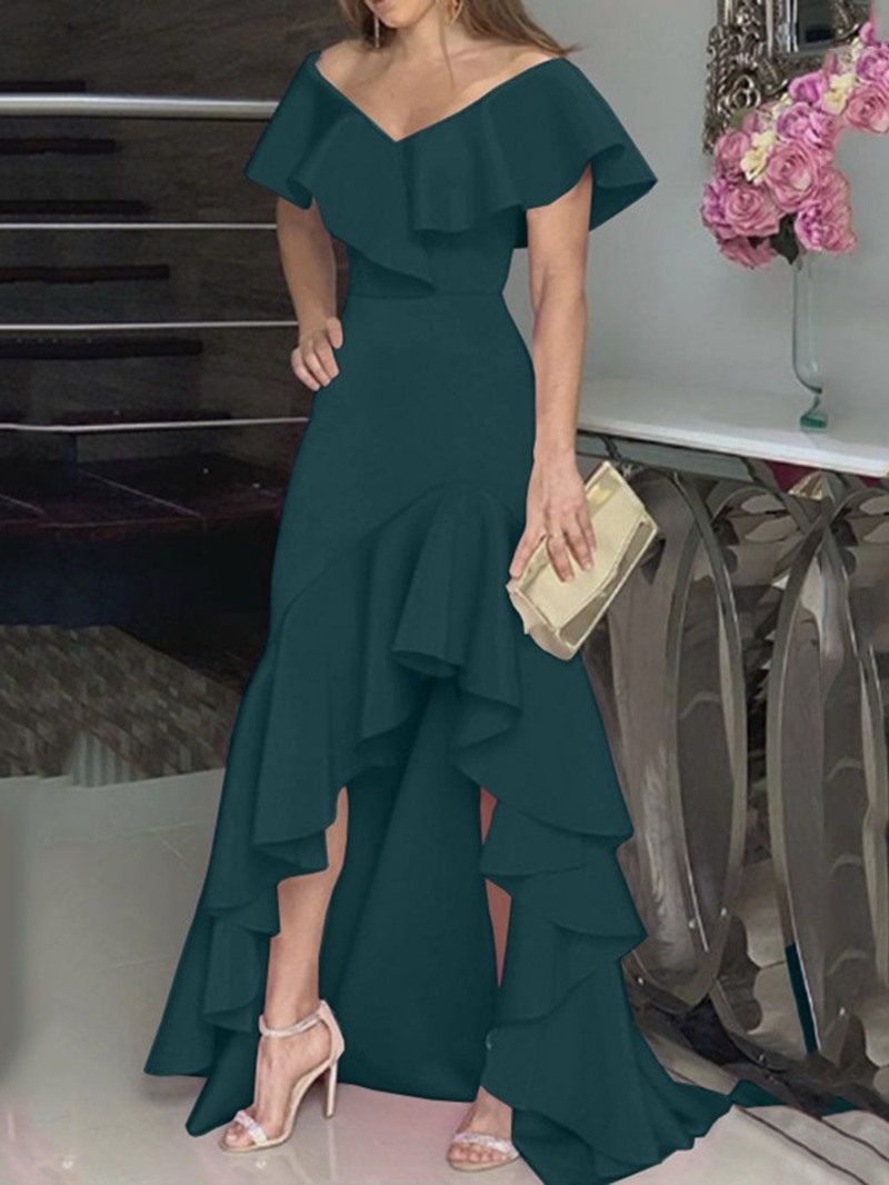 Ericdress Asymmetric Short Sleeve Floor-Length Plain Summer Dress