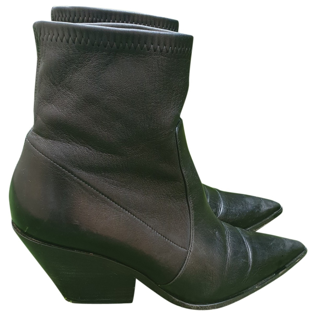 Casadei \N Black Leather Ankle boots for Women 37 EU