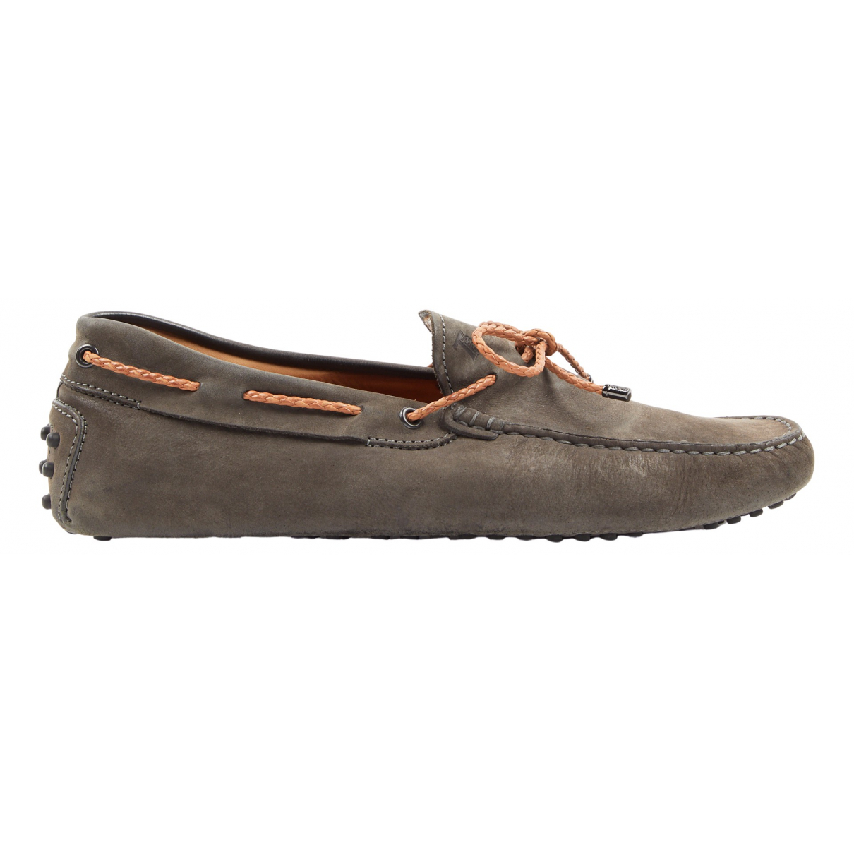Tod's Gommino Charcoal Suede Flats for Men 8 UK