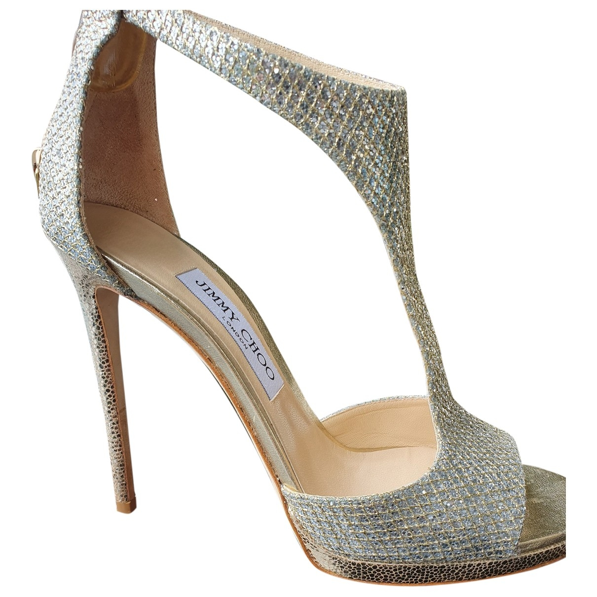 Jimmy Choo \N Silver Glitter Sandals for Women 38.5 EU