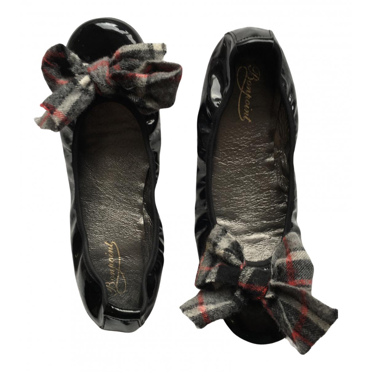 Bonpoint \N Ballerinas in  Schwarz Lackleder