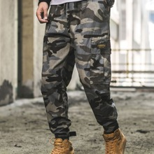 Men Camo Print Drawstring Waist Cargo Pants