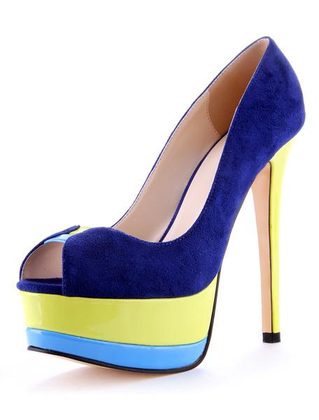 Milanoo Zapatos peep toe de color-blocking