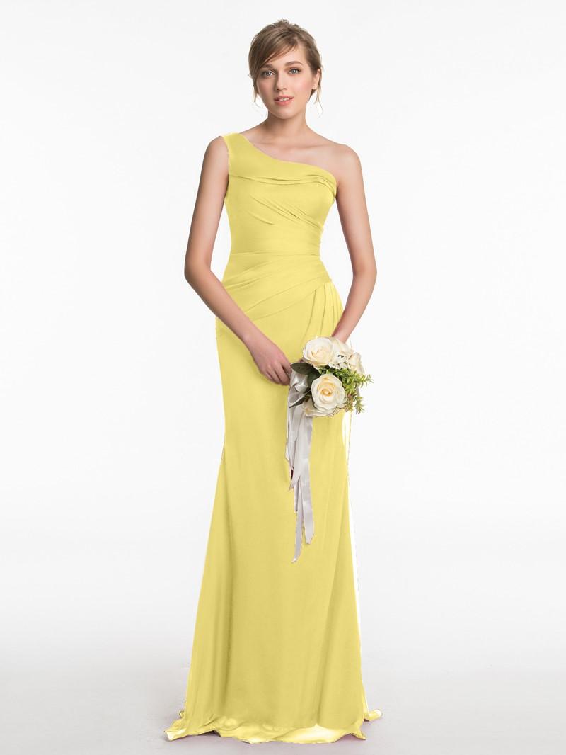 Ericdress One Shoulder Sheath Long Bridesmaid Dress