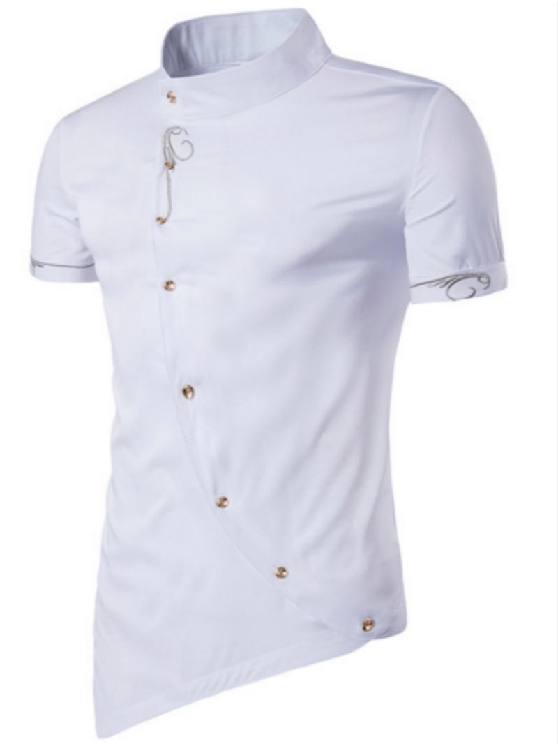 Ericdress Iregular Plain Printed Short Sleeve Stand Collar Men's Shirt