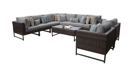 Barcelona BARCELONA-10a-BRN-GREY 10-Piece Patio Set 10a with 3 Corner Chairs  2 Club Chairs  4 Armless Chairs and 1 Coffee Table - Beige and Grey