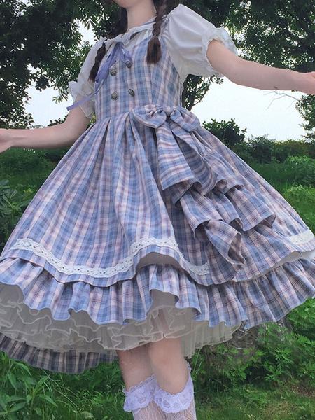 Milanoo Sweet Lolita JSK Dress Plaid Bows Lolita Jumper Faldas