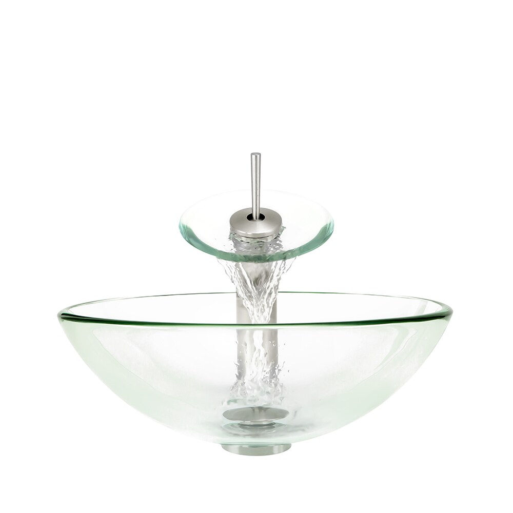 Polaris Sinks Crystal Clear/ Brushed Nickel 4-piece Bathroom Sink Ensemble (Crystal)
