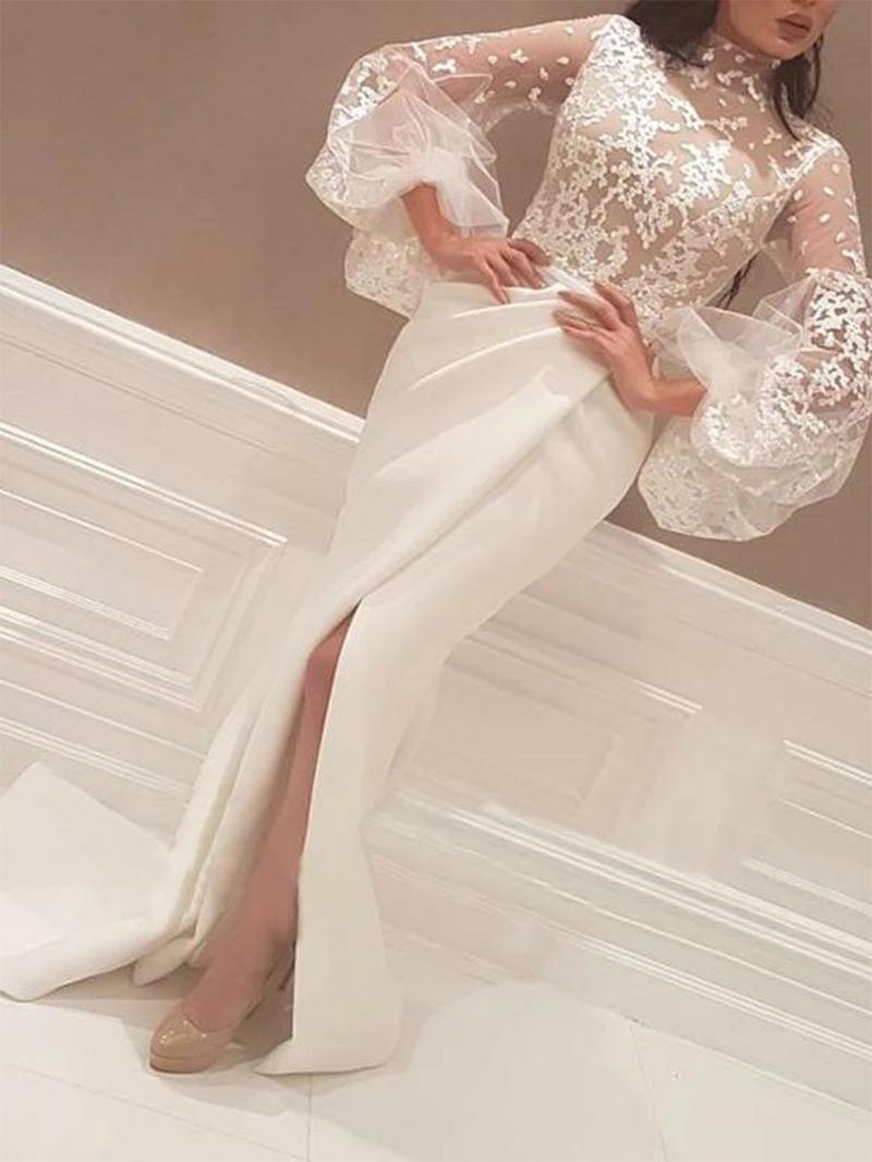 Ericdress Split-Front High Neck Long Sleeves Lace Evening Dress