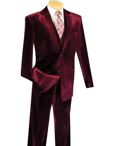 Mens 3 Piece Single Breasted Wine Two Button Velvet Vested Suits