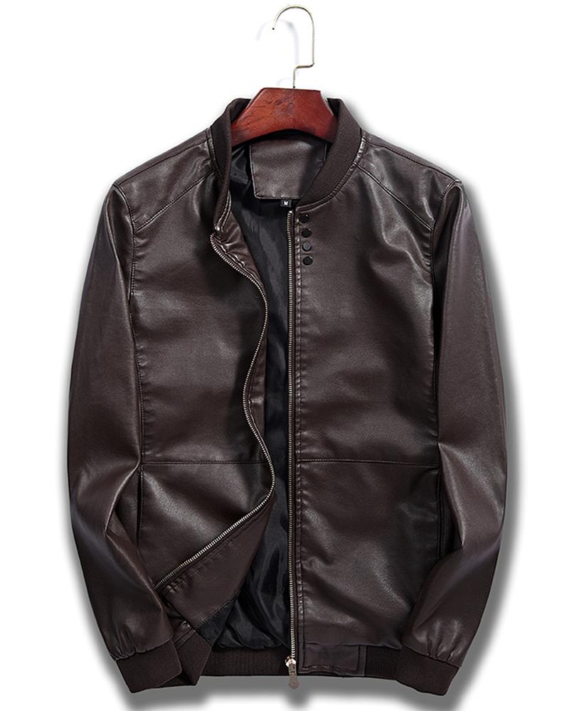 Slim Model Lapel Zipper Casual Style Plain Jacket
