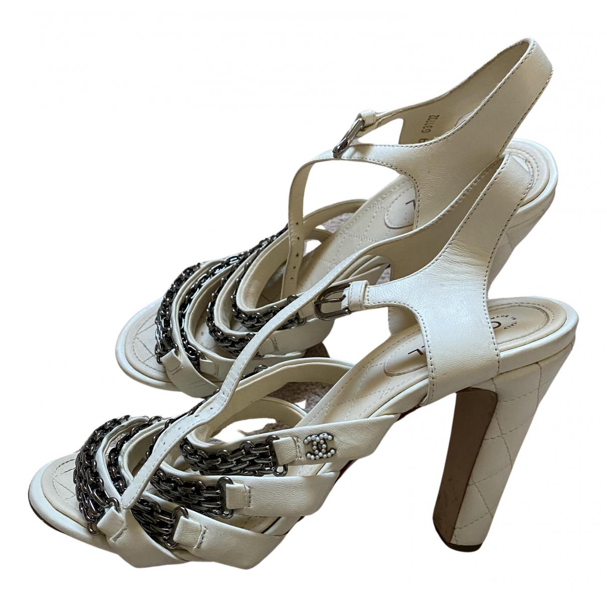 Chanel N Ecru Leather Sandals for Women 39.5 EU