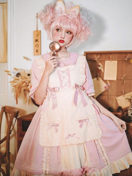 Milanoo Sweet Lolita OP Dress Sweet Cream Pink Ruffles Bows Lolita Vestidos de una pieza