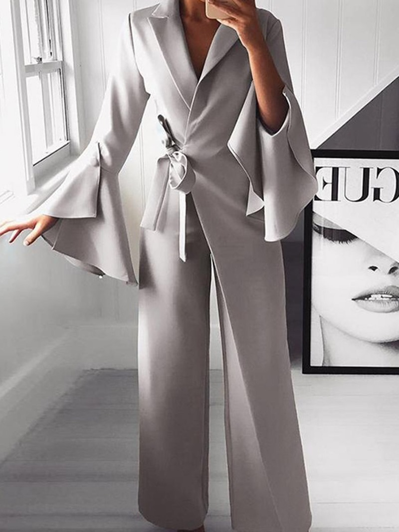 Ericdress Flare Sleeve Plain Lace-Up Slim High Waist Jumpsuit