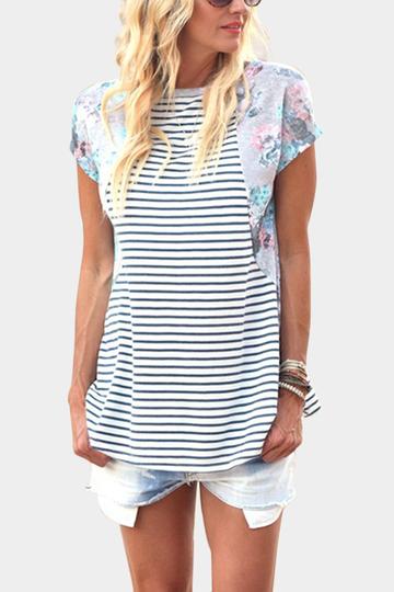 Yoins Stripe Pattern Random Floral Print Loose T-shirt