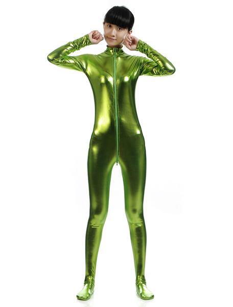 Milanoo Disfraz Halloween Brillante metalico con cremallera Zentai traje verde para las mujeres Halloween