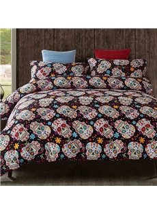3D Colorful Floral and Skulls Printed Polyester 3-Piece Bedding Sets/Duvet Covers