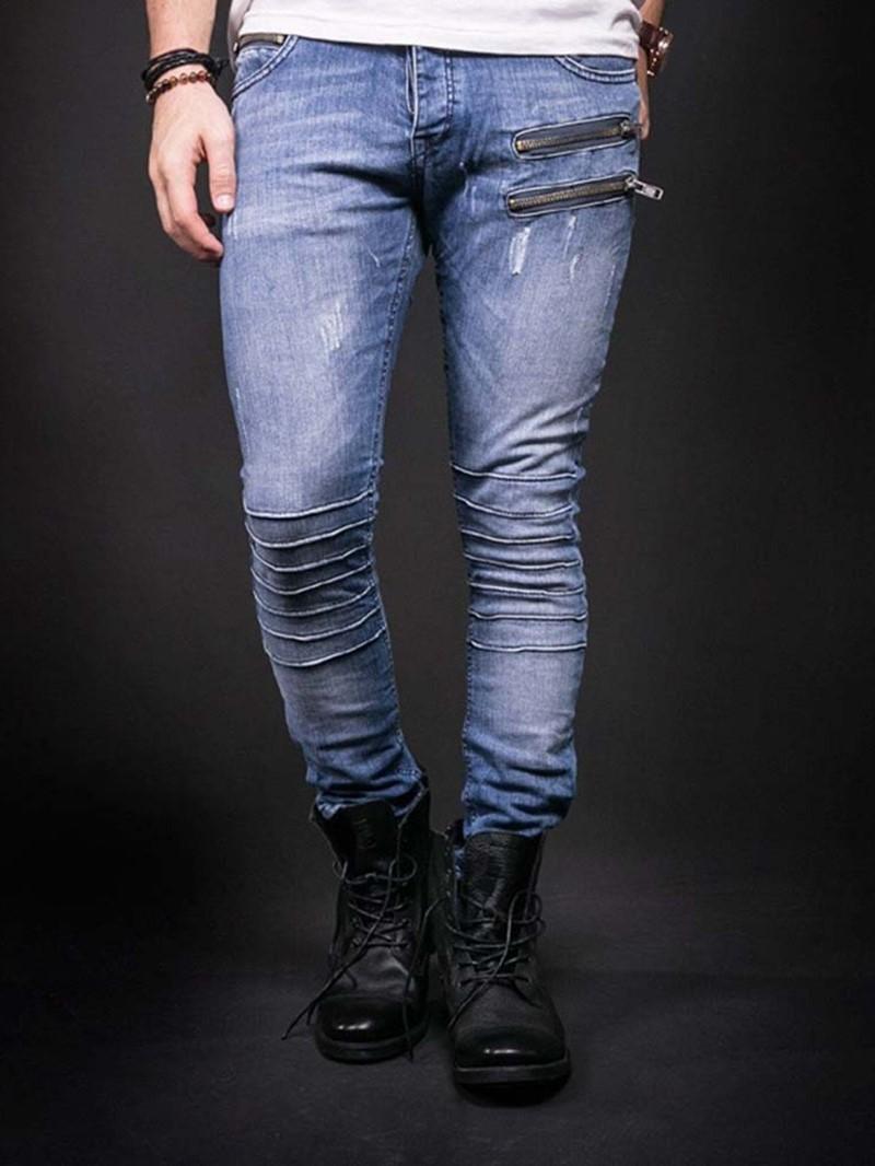 Ericdress Zipper Plain Pencil Pants Zipper European Jeans