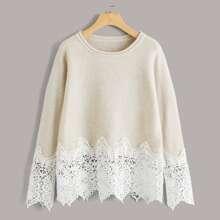Pullover mit Kontrast Spitzenbesatz