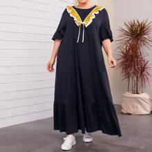 Plus Tie Front Ruffle Trim Dress