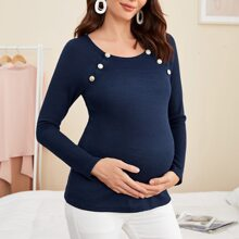 Maternity Buttoned Front Raglan Sleeve Waffle Knit Top