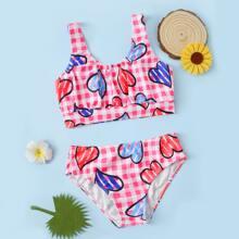 Bikini Badeanzug mit Herzen & Karo Muster
