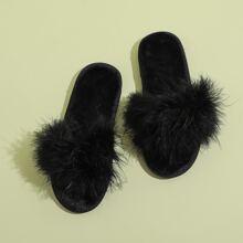 Faux Fur Decor Slippers